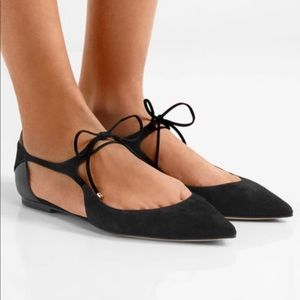 Jimmy Choo Vanessa cutout suede leather flats